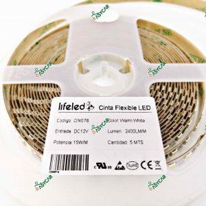 CINTA FLEXIBLE 2835 BLANCO CALIDO 120 L/M
